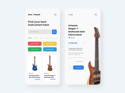 Awesound Music Store light clean store mobile app apps mobile ui uidesign ux uiux ecommerce ui music