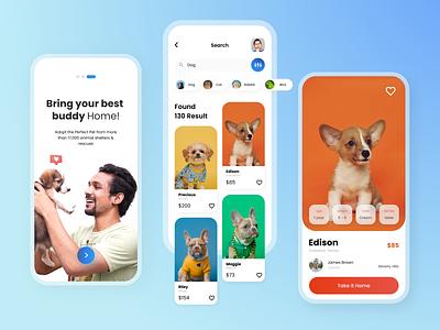Pet Finder | Mobile Apps ui design ux apps clean light graphic design uidesign finder pet pet finder