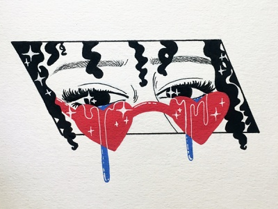 Heart Eyes drawing design bold graphic style sunglasses eyes close up red and blue ink traditional media traditional art hand drawn limited color palette colorful editorial art fashion illustration posca paint markers acrylic paint illustration