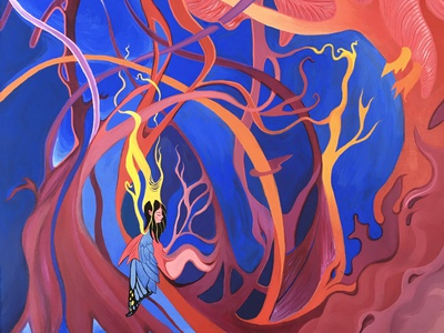 Entwine - Acrylic Painting figure character custom frame framed painting virtual gallery traditional painting paintings gouache traditional media traditional art painting hand painted hand drawn colorful acrylic paint illustration