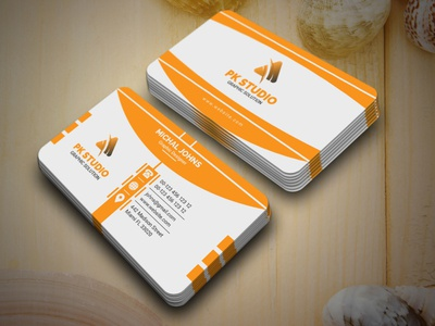 Business Card modern cyan company print ready green orange