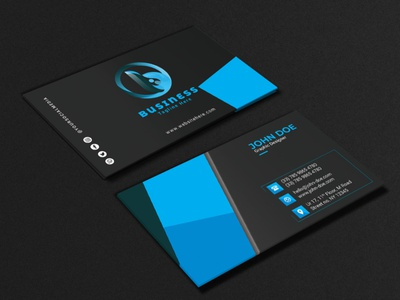 Business Card black design orange cyan print ready modern simple business card blue