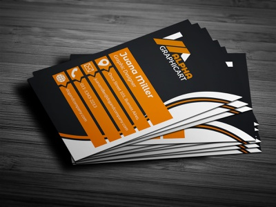 Business Card corporate company photoshop orange business card design creative print ready modern