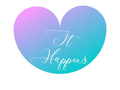 LOVE It Happens! vector illustration vector feeling emotion heart logo wallpaper blue pink gradient illustrator photoshop logo design design love