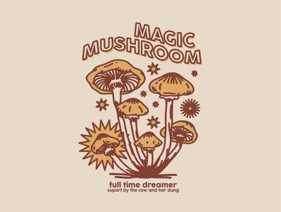 Magic Mushroom logo coconut tropical tropic beach vintage mushroom tshirt tshirt design layout design design illustration psychadelic psychedelicart psychedelic