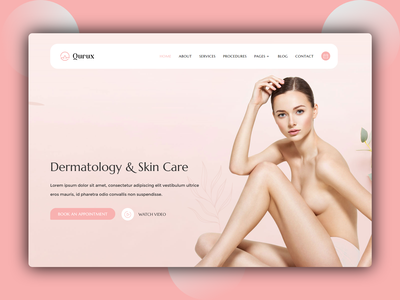 Qurux - Skin Care Website Landing Page design landing page designer ux design creative design clean website dribble best shot best shots website concept creative website design