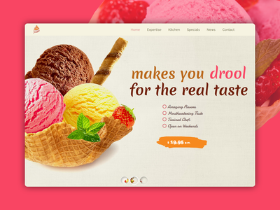 IceCream website landing page illustration logo design designer ux design creative design clean dribble best shot best shots landing page website