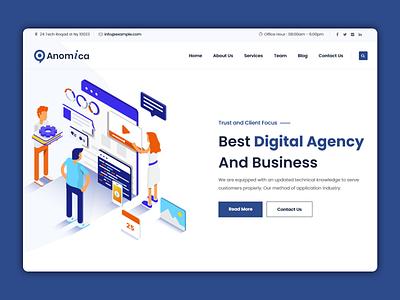 Anomica - Digital Agency Website landing page designer creative design ux design clean website dribble best shot best shots agency business business website agency website
