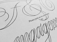 Prospectus Text Italic & Spencerian Invite Sketch
