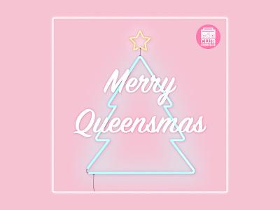 Merry Queensmas Playlist Cover christmas tree last christmas glow blue pink christmas pop neon carly rae jepsen spotify playlist playlist
