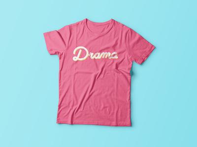 Drama T-Shirt apparel flower drama t shirt cursive handwritten lettering
