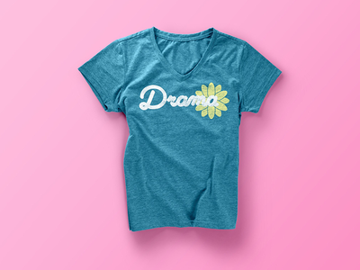 Drama T-Shirt 2 lettering handwritten cursive t shirt drama flower apparel