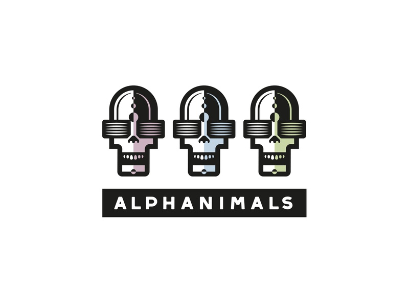 Alphanimals scull man animals heads logo design hamburg marken design hamburg mirbachdesign brand design hamburg