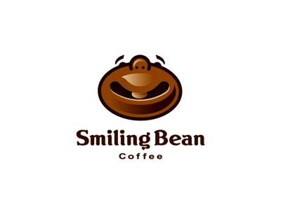 Smiling Bean Coffee smile coffee bean bar cup drink food restaurant face brown logo illustration tas