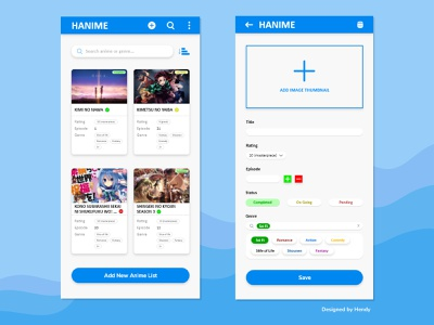 Hanime - Always Note Your Favourite Anime android app design android app anime app mobile app design mobile app mobile anime android app ux ui design