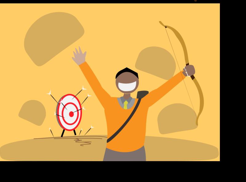 struggle goal joy success victory flat vector illustration