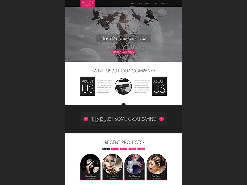 Gothica - A one Page Template in Goth Style template psd template goth gothic dark dark design fashion psd portfolio blog