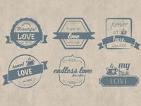 Set of Grunge Hand Drawn like Badges / Logos