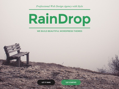 "RainDrop - A One and Multi Page ""Rainy"" Theme agency clean creative elegant hipster minimal modern multi page one page portfolio theme rain retina"