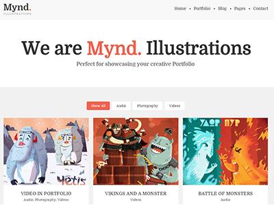 Mynd - A Minimal Portfolio Wordpress Theme agency artist creative gallery grid masonry minimal photography portfolio responsive retina wordpress