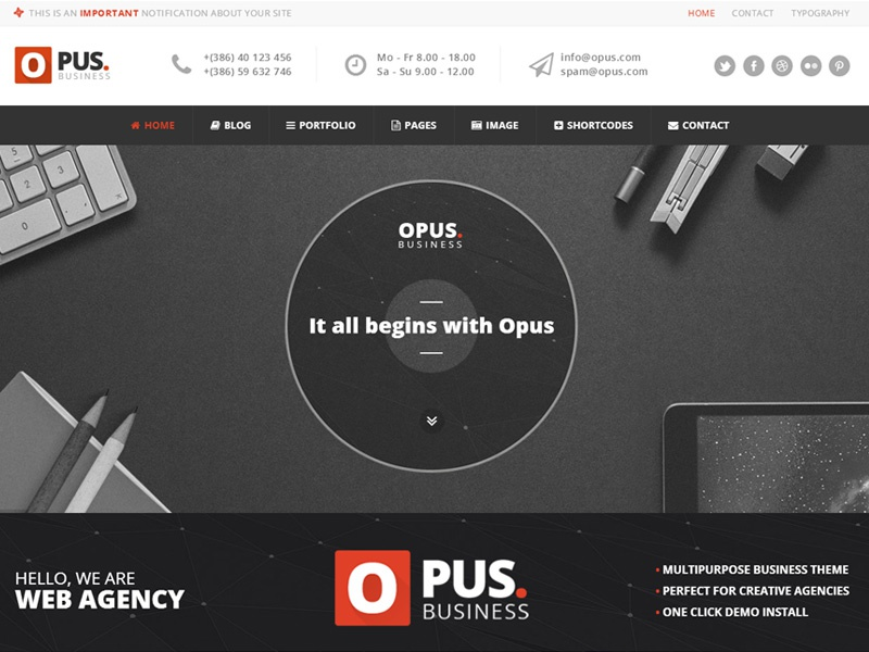 Opus featured image wordpress theme dribbble