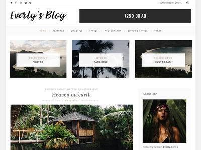 Everly Lite Blog personal minimal portfolio minimal blog minimal hipster blog hipster creative clean blog theme blog