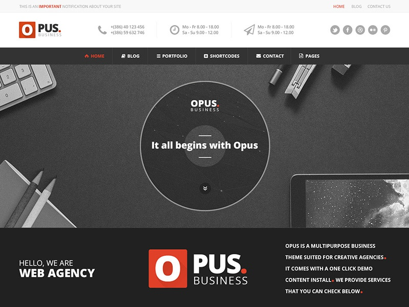 Opus Business Template  web design flat design flat modern colorful psd template template