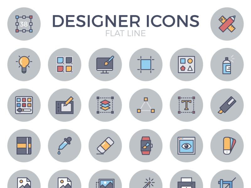 Designer Flat Line Icon Set flat designer free set icons