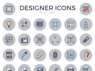 Designer Flat Line Icon Set
