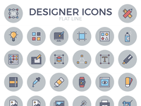 Designer Flat Line Icon Set