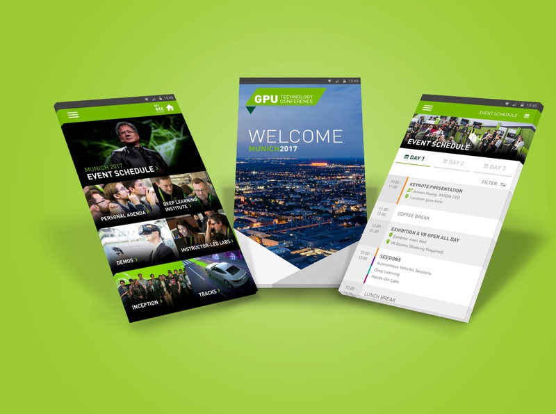 NVIDIA – GPU Tech Event App branding design minimal app vector typography illustration ui ux