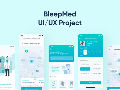 BleepMed - Doctor Booking App figma ux prototype app design mobile app ui uae patient medical doctor app