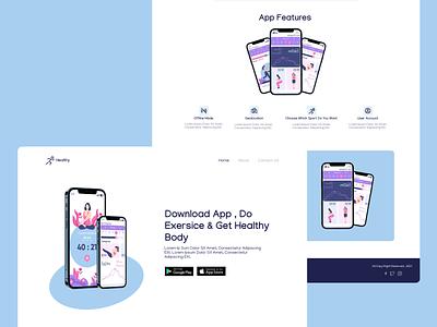Downloading Sport App Landing Page ui design