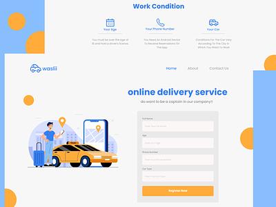 Online Delivery Landing Page illustration ui design