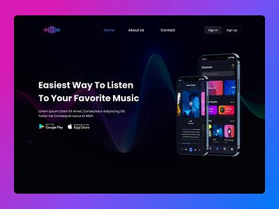 Music App Landing Page app ui design