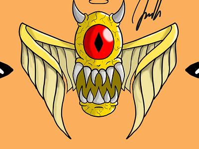 monster red eye logo scary elegant beast monster design illustration