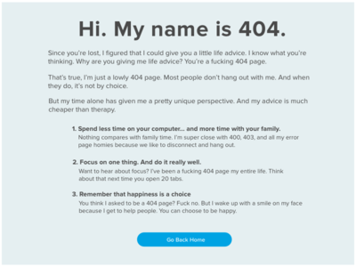 """""""Life Lessons from a 404 Page"""" -- Daily UI 008"""