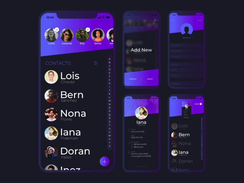 An iOS app inerface called Kontact ios app interface design layout ui