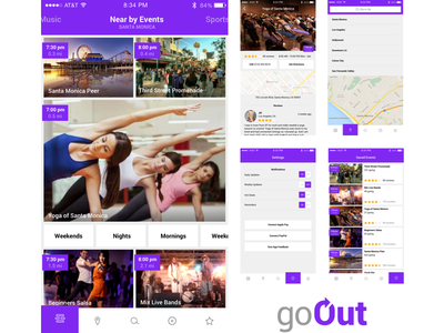 GoOut (iOS App) mobile screens interface sketch goout style guid layout ux ui iphone ios
