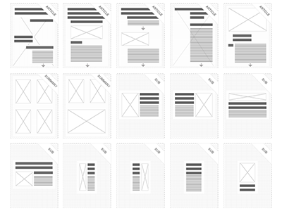 Publication Templates layout ui ux icons grids small article summery publication template