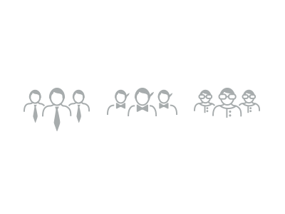 Corporations + Designers + Publishers icons people logos group simple examples vector