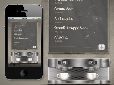 A Simple Little Coffee App ui coffee ux app itunes store chrome metal cups coffee cups