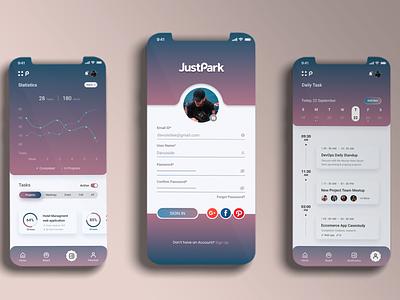 JustPark - made as an app for teamwork... photoshop figma graphic design uiux mobile app design minimalizm flat design just park