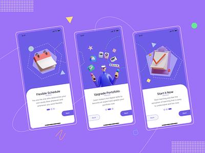 Online Course Mobile App - On Boarding Screens mobile boarding design app typography ux ui