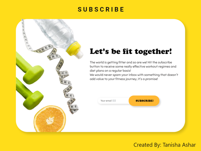 Subscribe UI for a fitness blog subscribe form subscribe dailyui design dailyuichallenge webdesign uiux branding ux uiux design ui