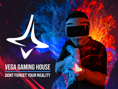 Gaming Banner Composite house gaming red blue lights smoke photoshop photo manipulation composition composite composite  image typography design branding