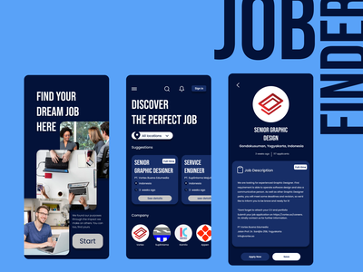 Job Finder - Mobile App app minimal ux design ui job finder job