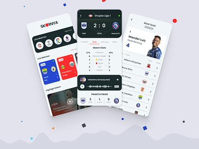 SKORNYA - Sport News and Score Mobile App Design Concept uiux mobile app design mobile apps user interface sports news sports soccer app clean design livescore ux ui design app