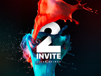 2 Dribbble Invite free palette pink color two paint ball cover dribbble invite