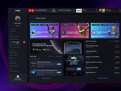 Game Dashboard – Home game app xboxone ps4 material design game design uiux design web deisgn flat card